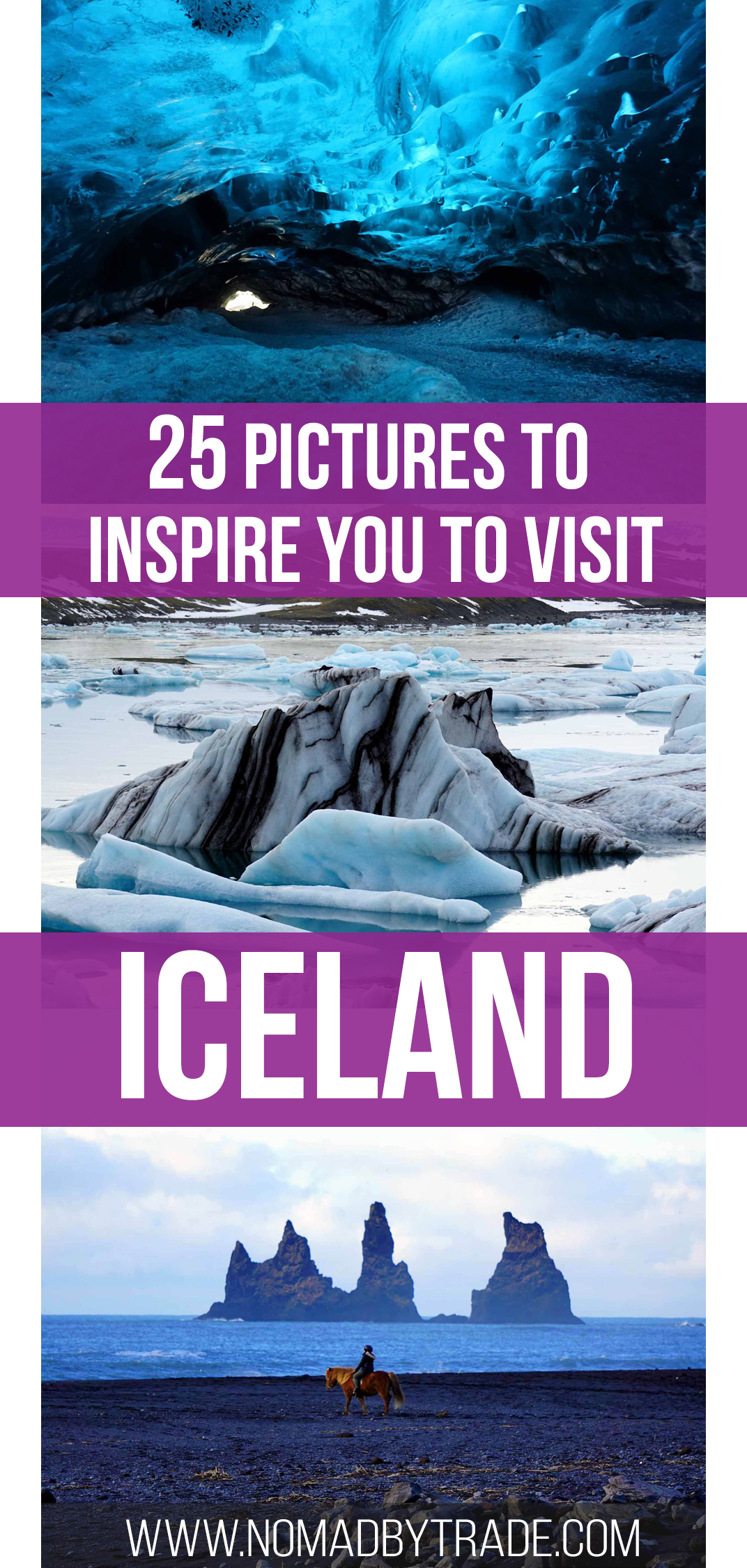 25 photos to put Iceland on your winter bucket list. Includes the Golden Circle, Blue Lagoon, Jokulsarlon, an ice cave, and the Northern Lights