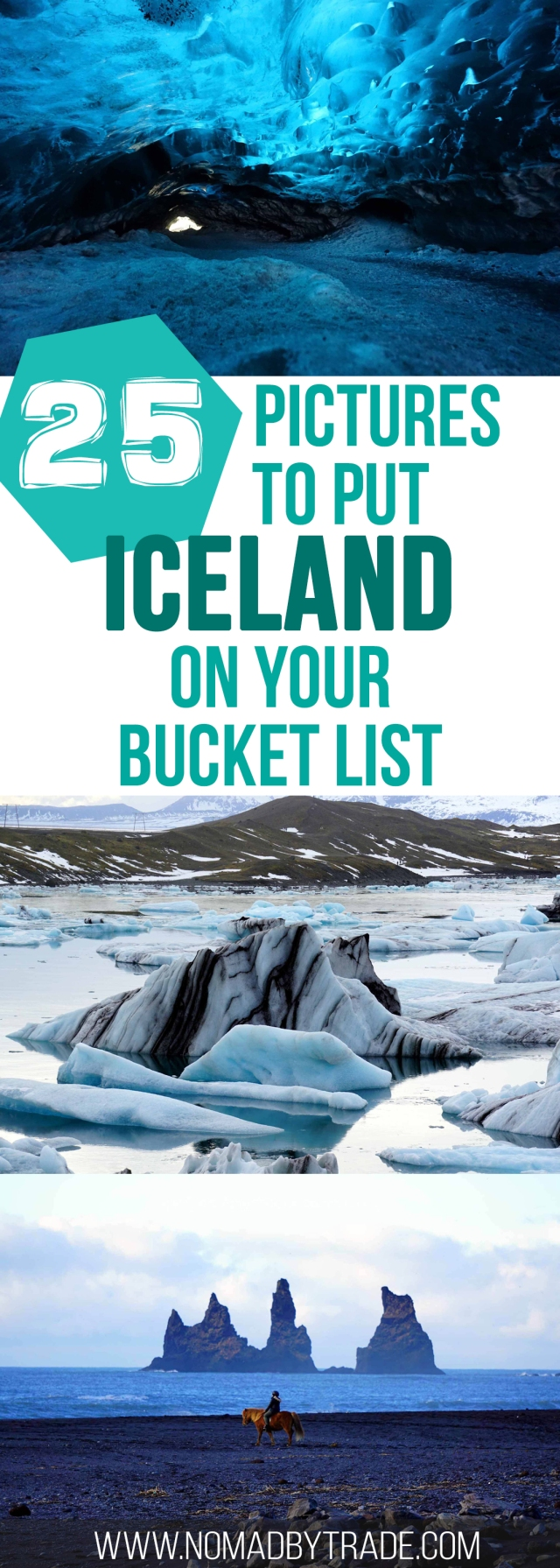 25 photos to put Iceland on your winter bucket list. Includes the Golden Circle, Blue Lagoon, Jokulsarlon, ice cave, and the Northern Lights